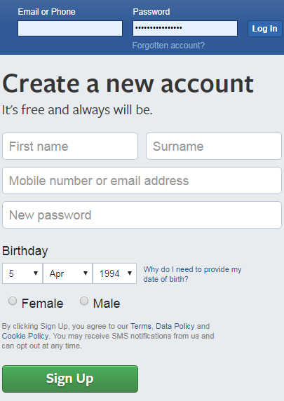 Make Facebook Account