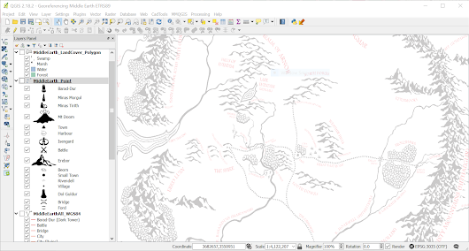 Georeferencing Middle Earth - Vector Update