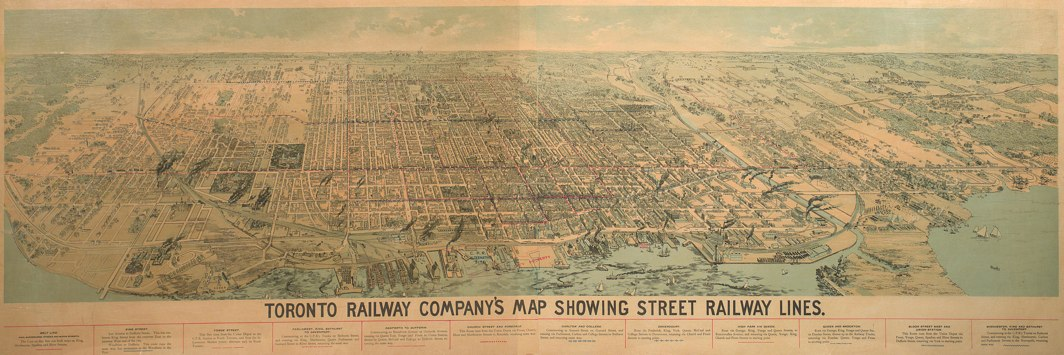 1892 Toronto Railway Company's Map Showing Street Railway Lines