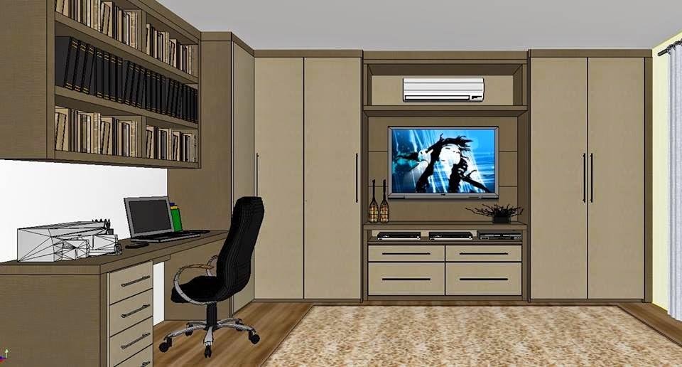 Ambientes  Ideias Sala de TV com Home Office