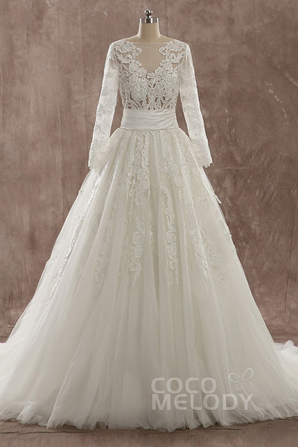 Charming A-Line Illusion Natural Train Tulle
