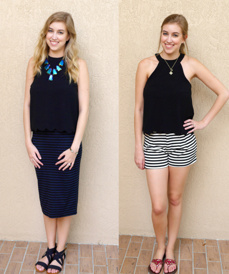 one top two ways black halter top with scallops