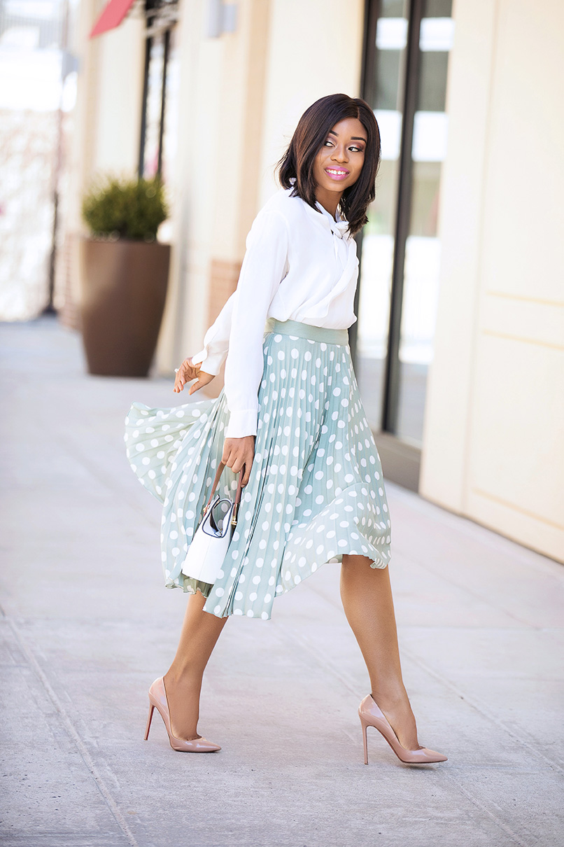 Pleated pastel polka dot skirt, www.jadore-fashion.com