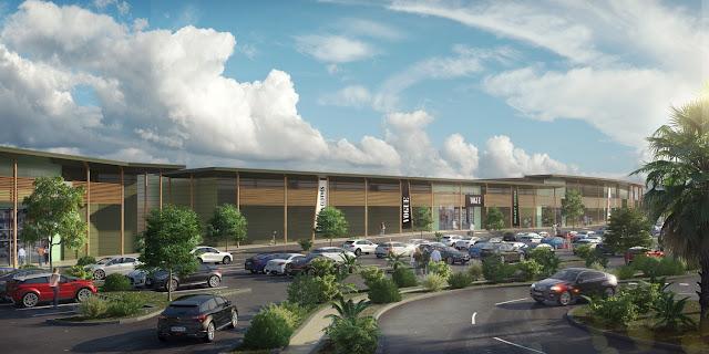 Image 3D parking, bureaux et zone commerciale