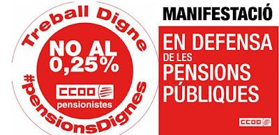 Manifestació en defensa de les pensions públiques