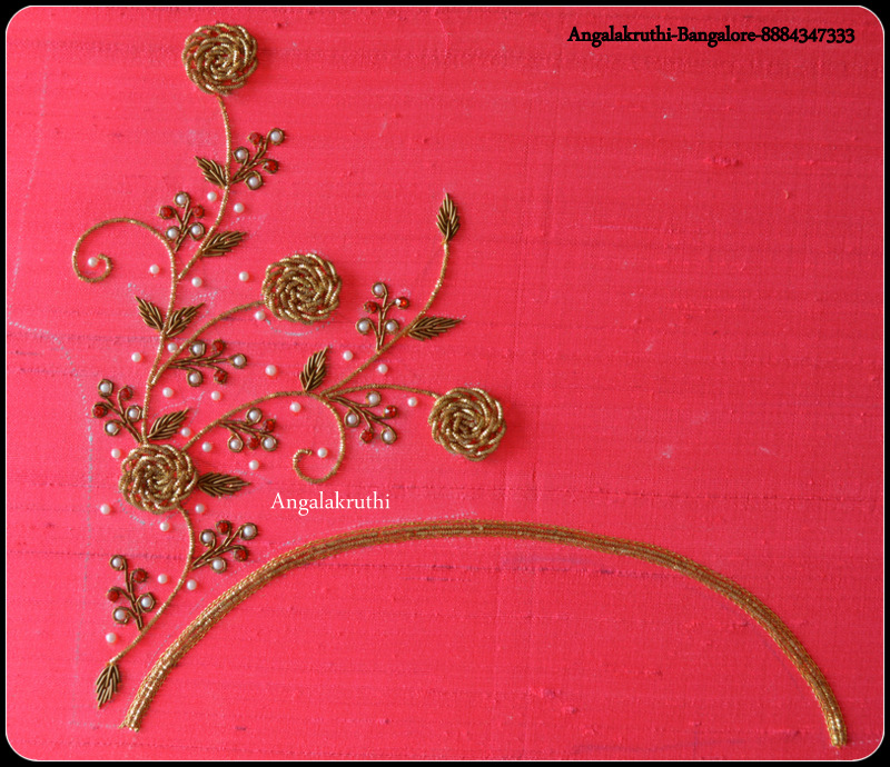 Hand Embroidery Blouse Neck Designs By Angalakruthi