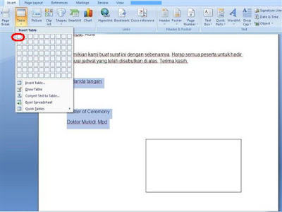 Masukkan tabel dalam lembar kerja microsoft word