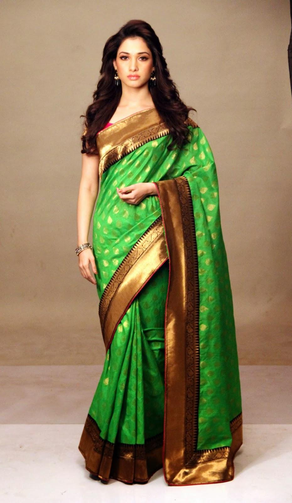 Tamanna Saree Gulte: Tamanna In Silk Saree Photos