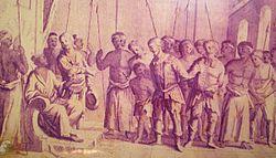Pasukan Pangeran Jayakarta menyerahkan tawanan Belanda kepada Pangeran Jayakarta