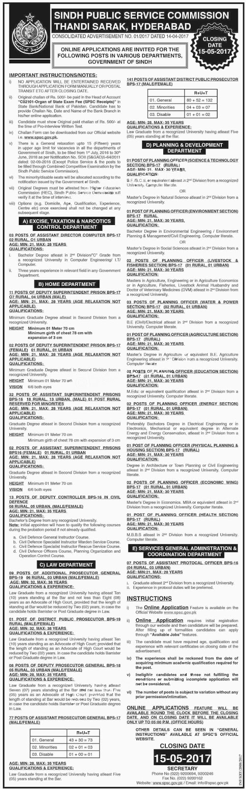 Jobs in Sindh Public Service Commission 322+ vacancies  2 may 2017