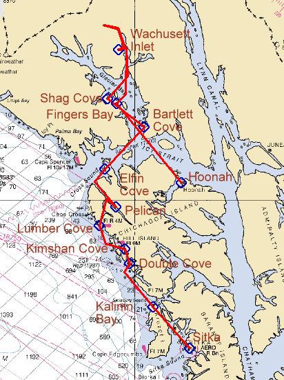 Huna Alaska Map.Sailing Rover Sitka To Hoonah Via Pelican Alaska