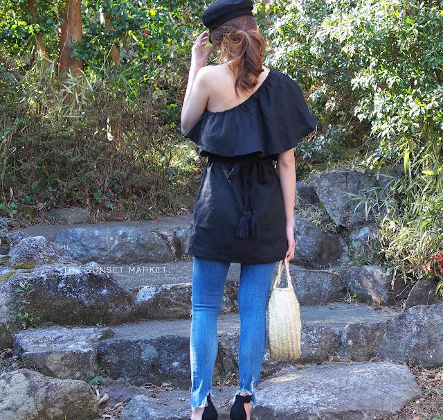 5436d5a0bca9d6 The Sunset Times: MLM//Henri Frill One Shoulder Dress