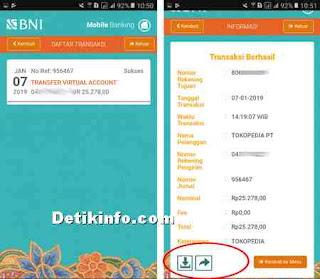 bukti transaksi sukses via mobile BNI