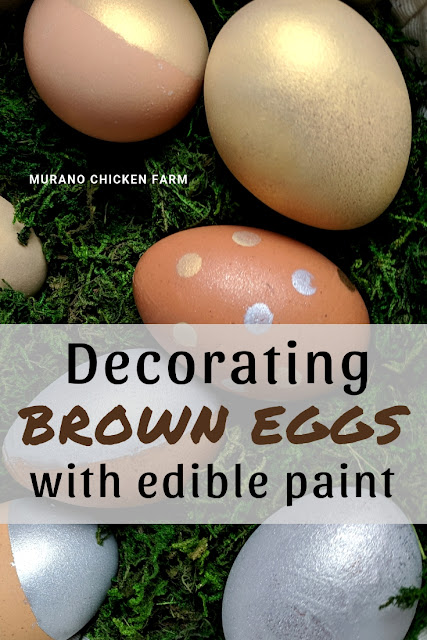 Brown eggs colored gold and silver for Easter