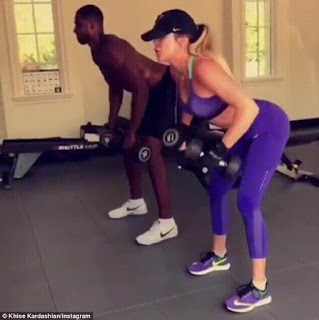 Khloe Kardashian workout with boyfriend Tristan Thompson