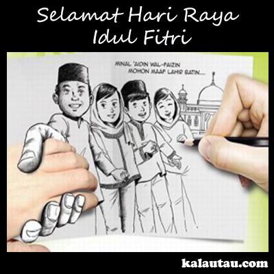 kalautau.com - Gambar Selamat Idul Fitri versi kartun lukisan nyata