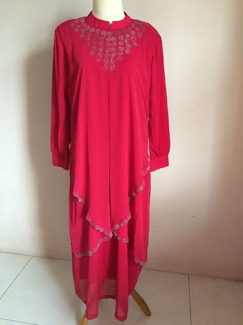 Model Gamis Sifon Pesta Warna Merah Terbaru 2016