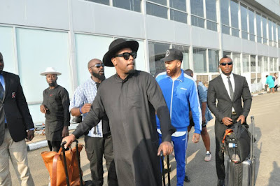 Photos: Singer Jidenna lands in Nigeria surrounded by heavy security