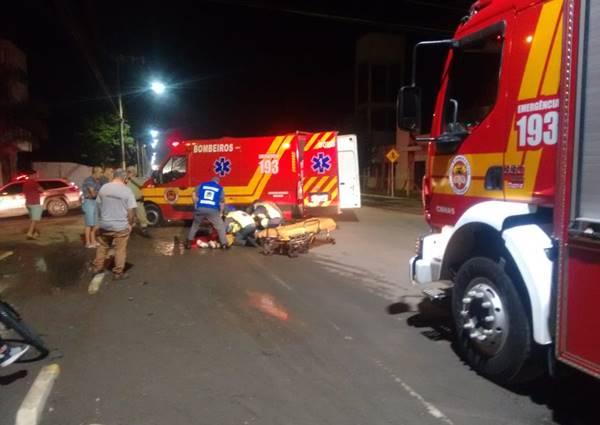Acidente com moto na Avenida dos Expedicionários em Canoinhas