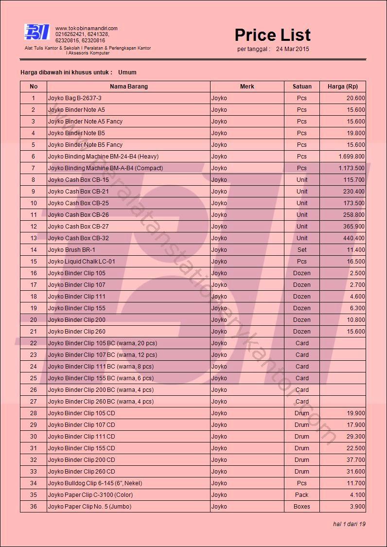 Daftar Harga Stationery ATK (alat tulis kantor) Sekolah Joyko
