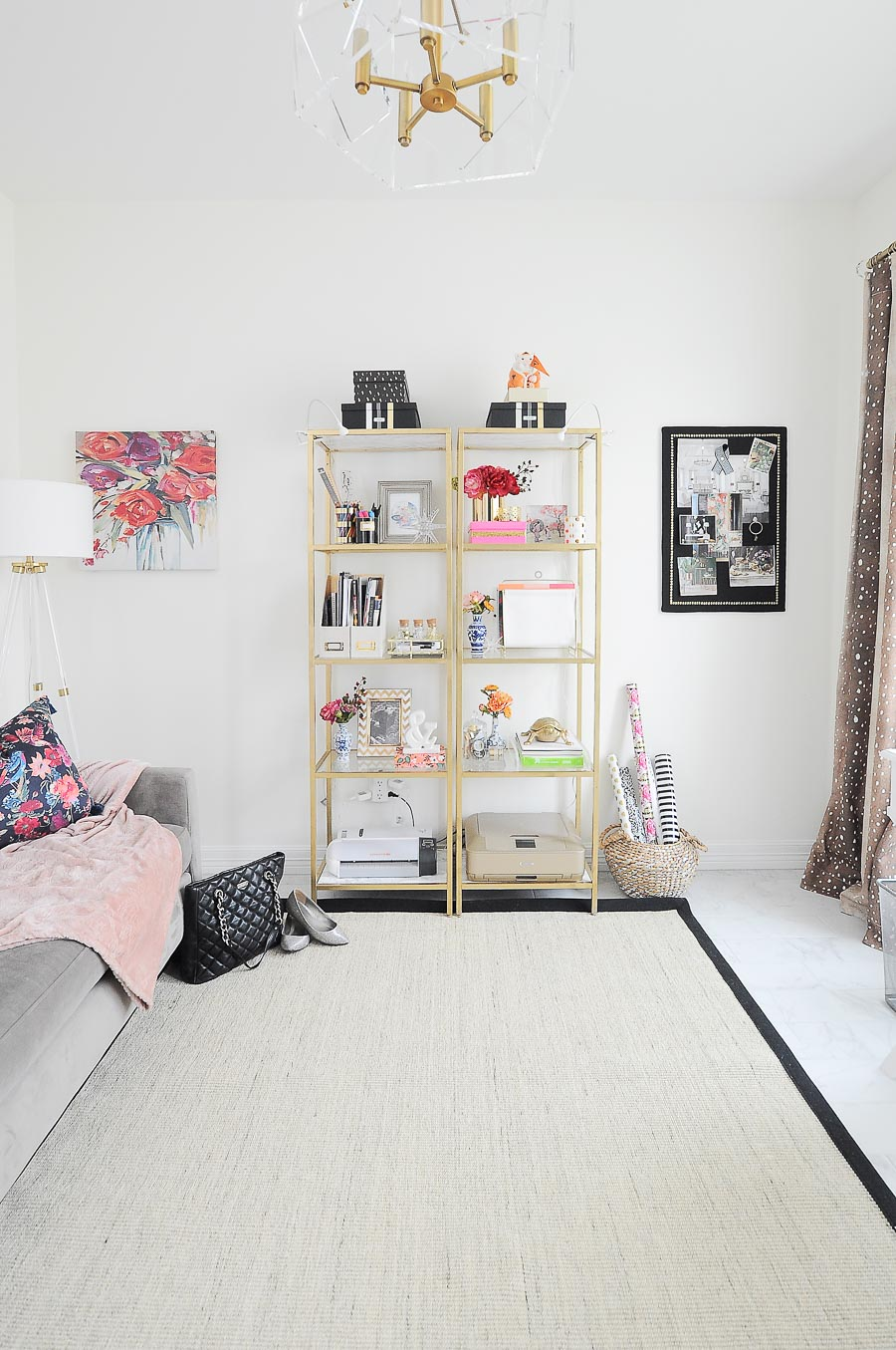 Gold VITTSJO shelves from IKEA got a glam makeover for a bright white and gold home office.