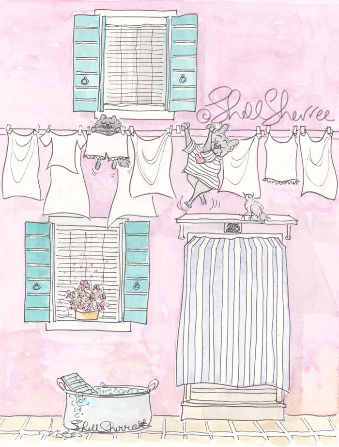 Venice Washing Day Black Cat and French Bulldog illustration © Shell Sherree all rights reserved
