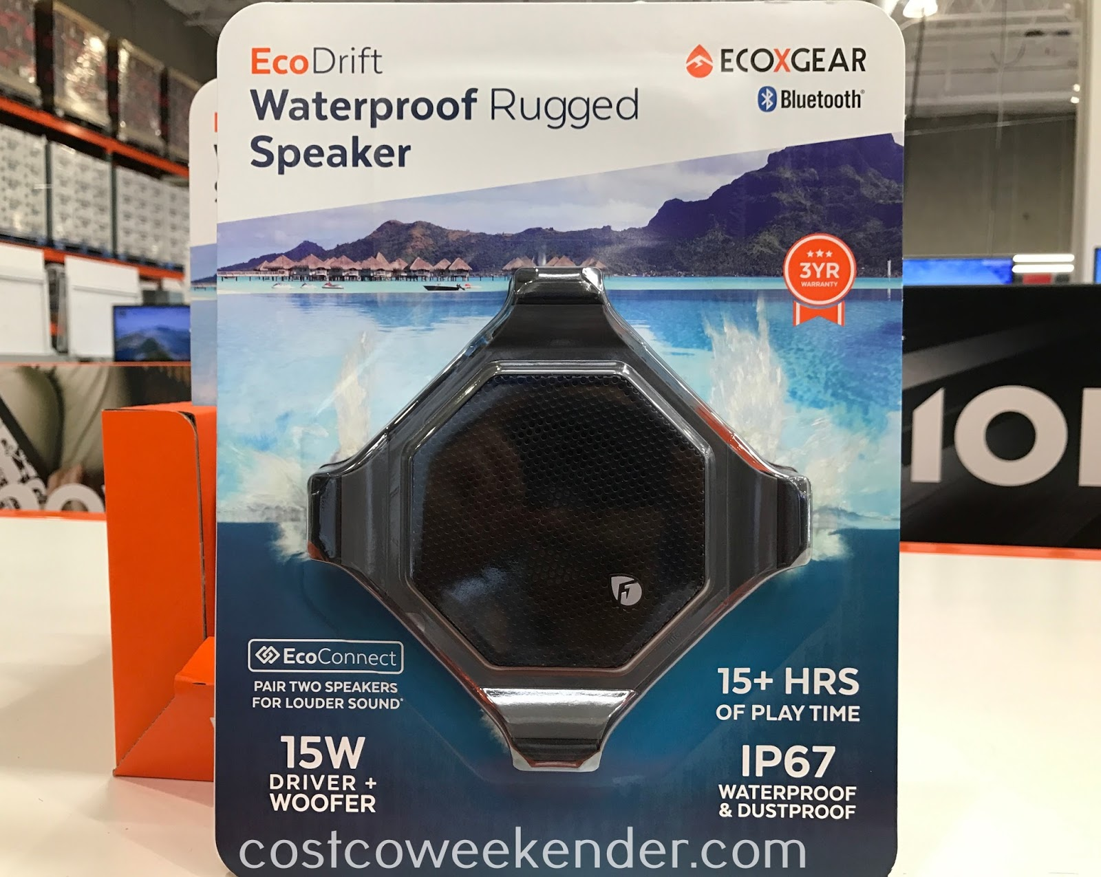 Take your music just about anywhere with the EcoXGear EcoDrift Waterproof Rugged Speaker