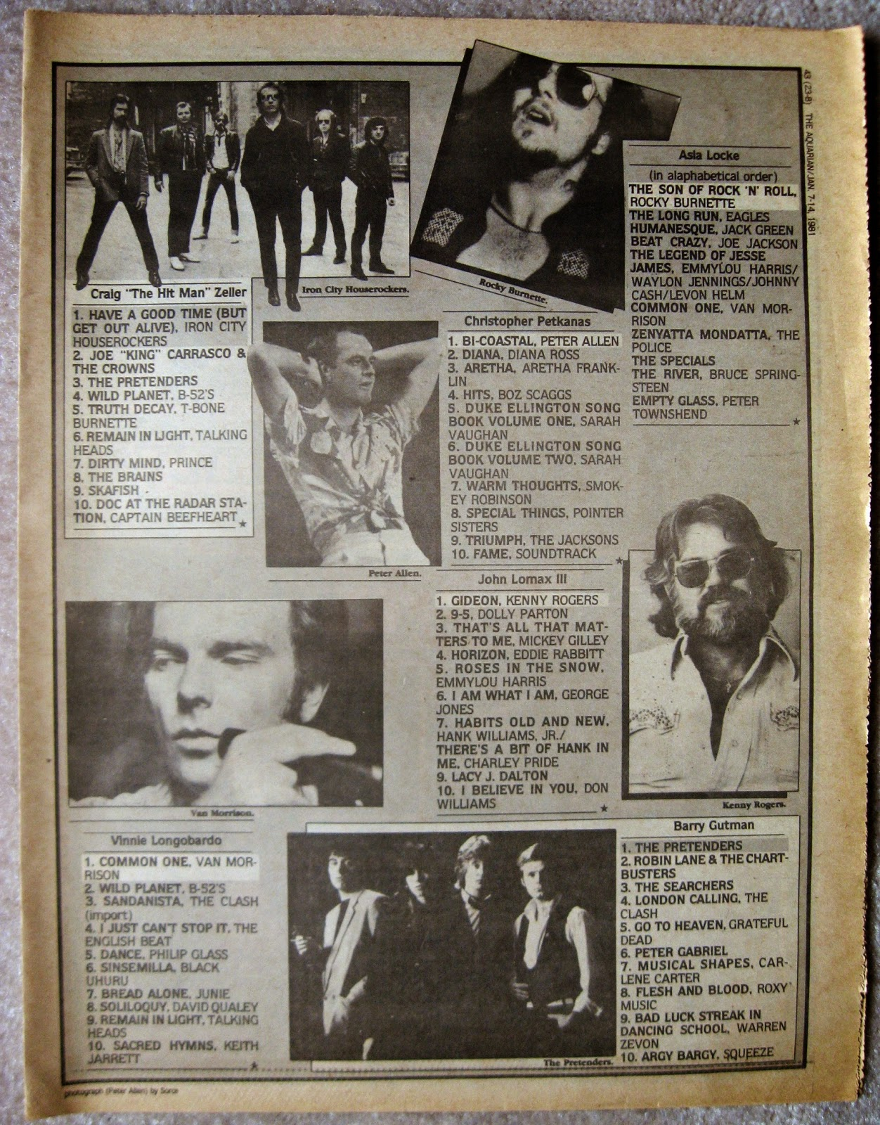 1980 top albums of the year... part 4 Aquarian Night Owl January 1981