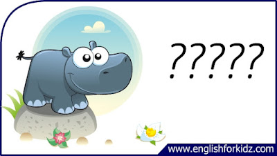 hippo flashcard, cartoon hippo image, esl flashcard