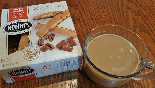Nonni's Turtle Pecan Biscotti with cofee