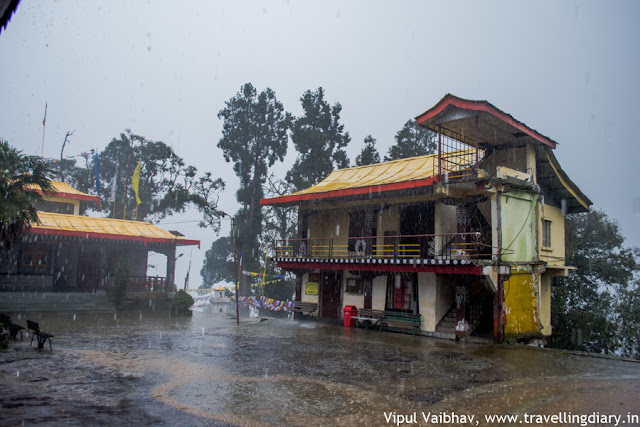 enchey monastery in rainfall