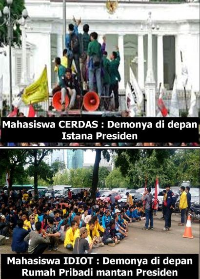 mahasiswa menggeruduk dan menggelar agresi demonstrasi di depan rumah mantan presiden Susil Demo Rumah SBY: Mahasiswa Dirisak & Dinilai Makara Alat Penguasa