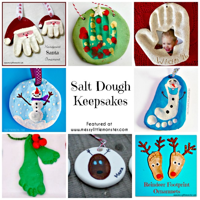Christmas salt dough keepsakes using handprint, footprint and fingerprints. Perfect kid made gifts from toddlers and preschoolers.