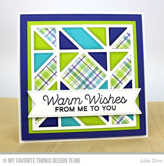 Handmade card from Julie Dinn featuring Let's Get Cozy stamp set and Diagonal Quilt Square Cover-Up and Blueprints 13 Die-namics #mftstamps