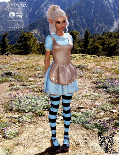 Wonderland Alice Outfit and Props for Genesis 3 Female