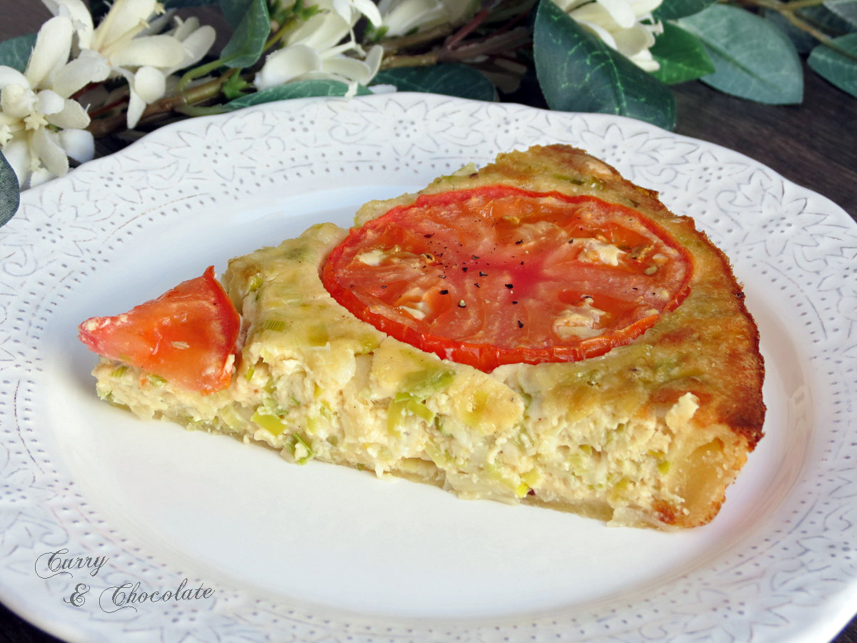 Quiche de puerro y queso con tomate - Leek and cheese quiche with tomato