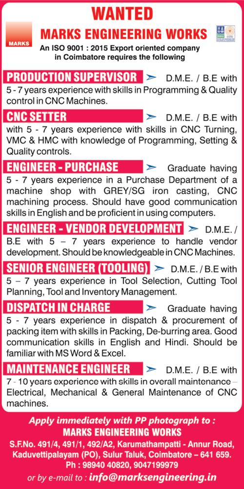 Large Job Vacancies in Marks Engineering Works Coimbatore / DME BE ...