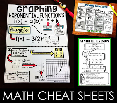 The math cheat sheets linked in this post are all free