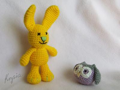 króliczek szydełkowy żółty amigurumi