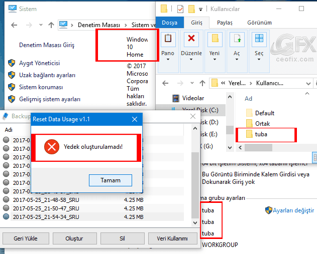 aynı bilgisayar ismi ile kullanıcı ismi