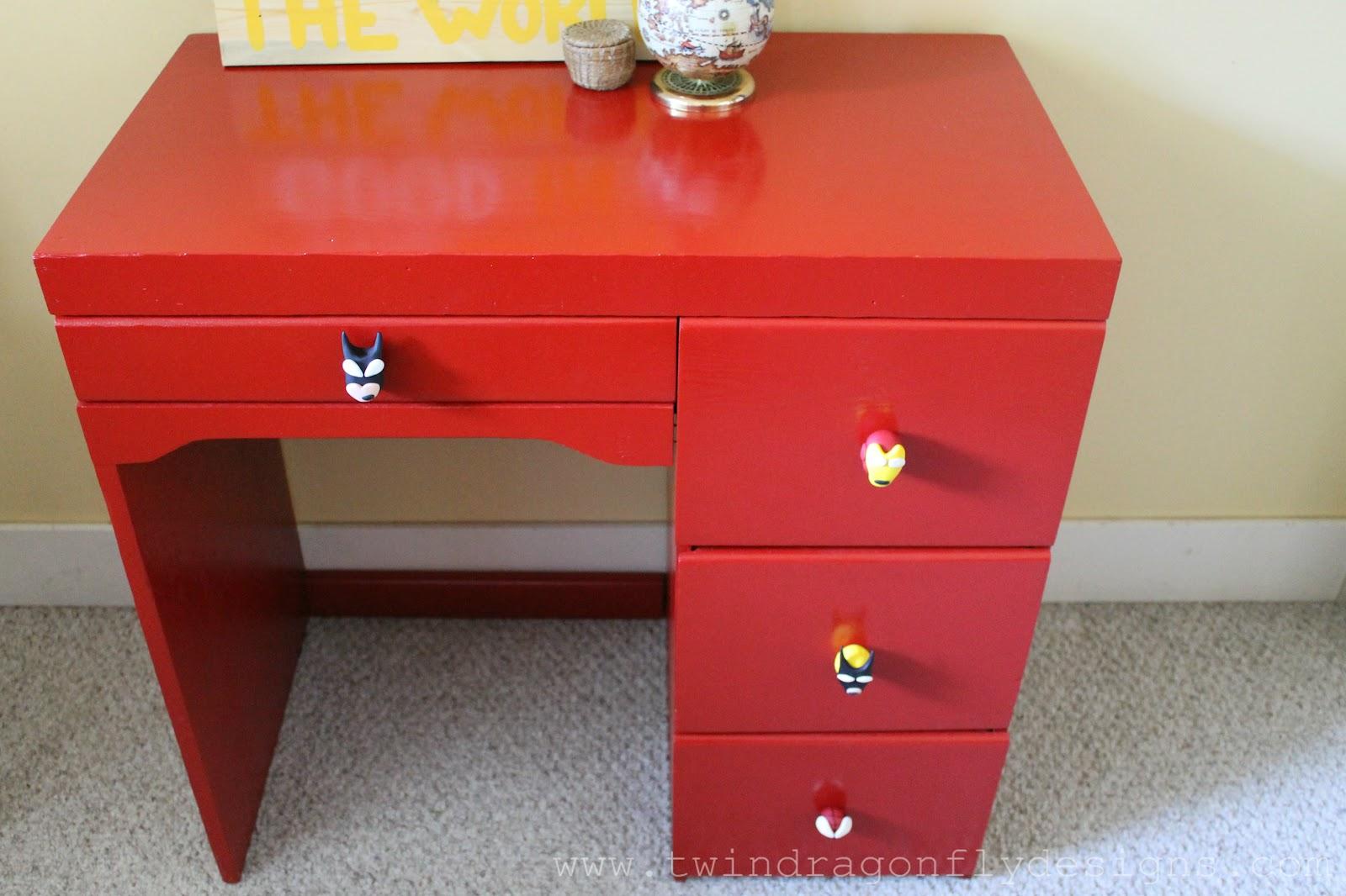 Red Superhero Desk  Dragonfly Designs