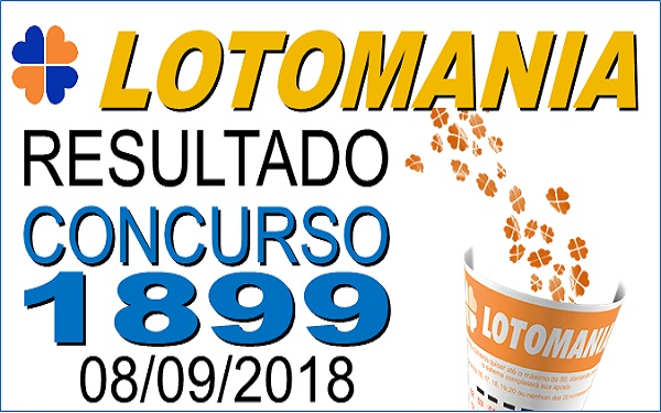 Resultado da Lotomania concurso 1899 de 08/09/2018 (Imagem: Informe Notícias)