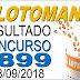 Resultado da Lotomania concurso 1899 (08/09/2018) ACUMULOU!!!