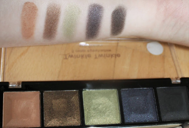 Profusion 5 Color Eyeshadow Palette - Swatches neben Palette