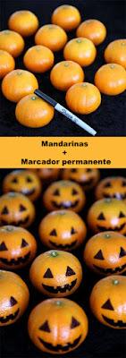 calabazas con mandarinas para halloween