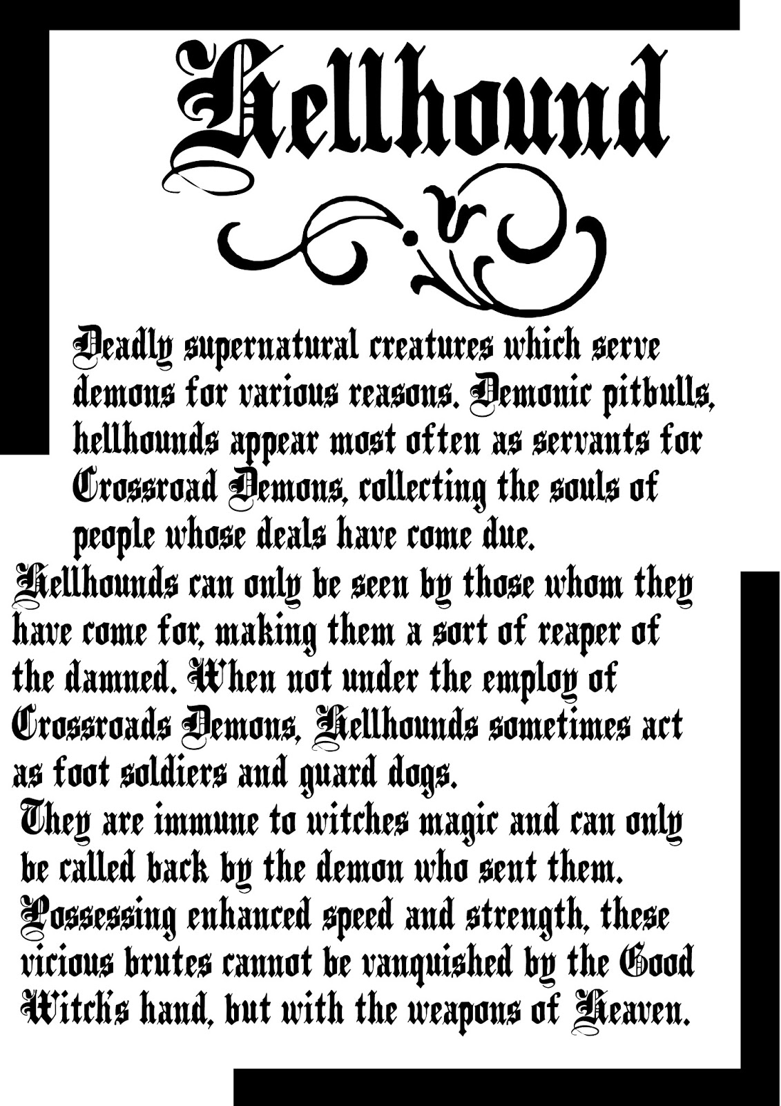 Book Of Shadows Pages: Hellhounds