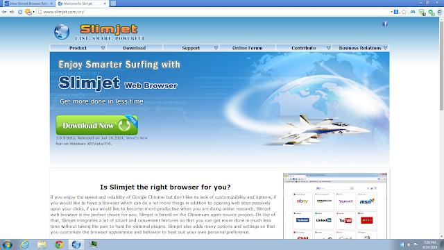تحميل متصفح انترنت سريع مجانا للكمبيوتر Slimjet Browser