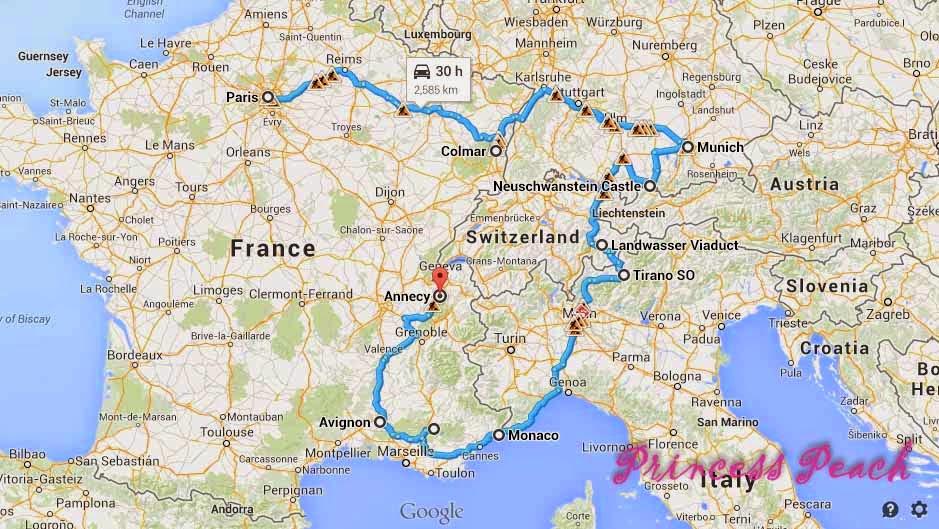 孕婦19天法國蜜月旅行玩樂地圖