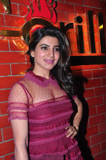 Samantha Ruth Prabhu looks super cute in transparent Crimson Gown at T Grill Restaurant Launch
