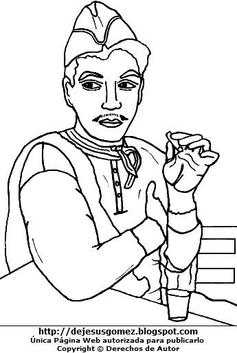 Dibujo de Cantinflas con su cigarro para colorear o pintar. Imagen de Cantinflas de Jesus Gómez